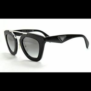Prada Cinema SPR 09Q Black Leather Sunglasses